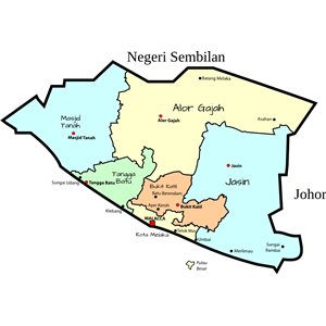 Parliamentary map of Malacca, Malaysia clipart, cliparts of.