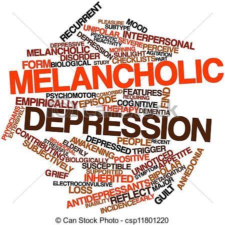 Clip Art of Word cloud for Melancholic depression.
