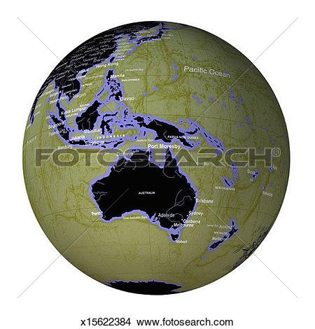 Stock Photo of Globe Showing Australia, Indonesia and Melanesia.