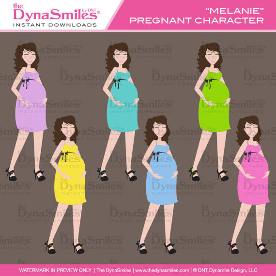 Maternity, Baby Themed, Clipart, Pregnant Character