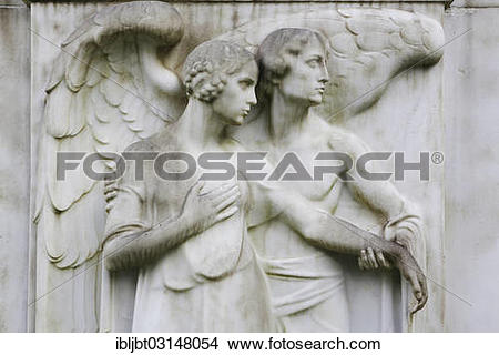 "Stock Photo of ""Angel and a female figure on a gravestone."