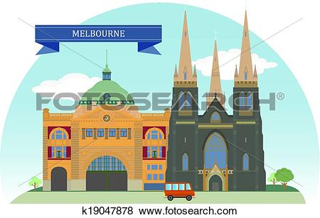 Clip Art of Melbourne, Australia k19047878.