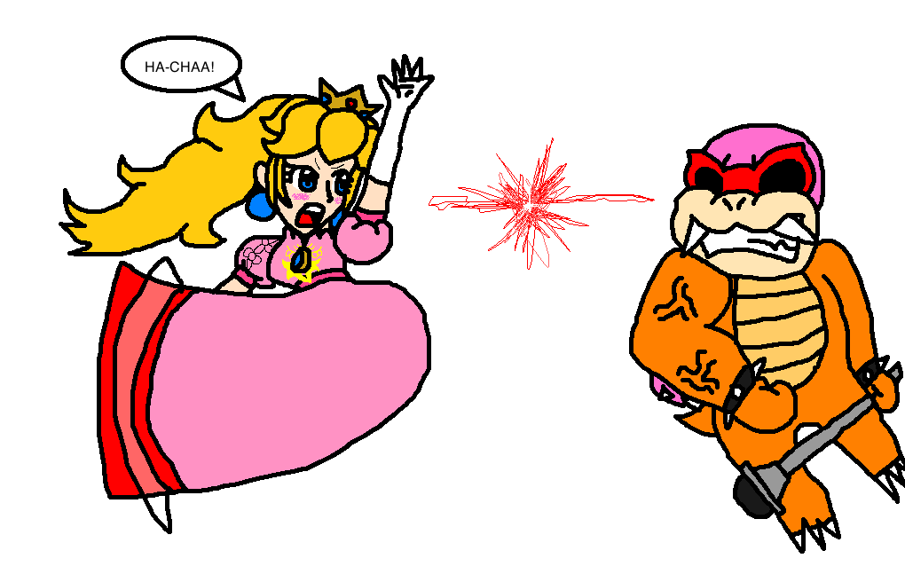 Melee Peach vs. Classic Roy Koopa by airbornewife71 on DeviantArt.
