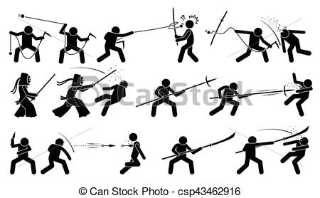 Vector Clip Art of Man attacking opponent with traditional.