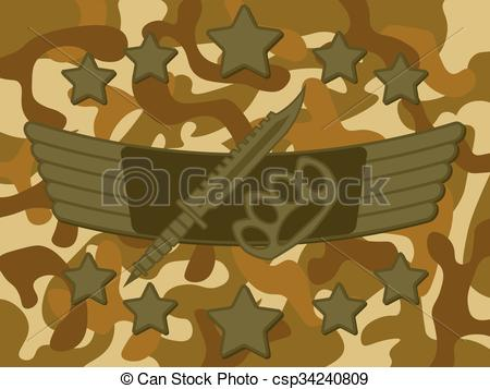 Vector Clipart of Military Logo Melee Combat.