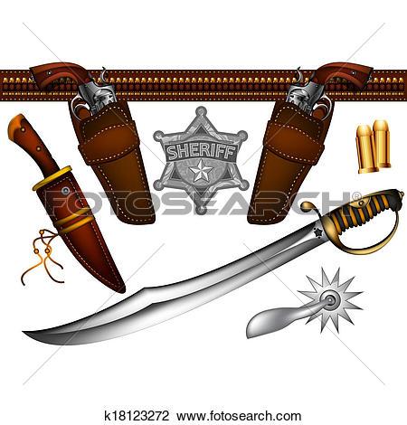 Clip Art of set of cowboy weapons k18123272.