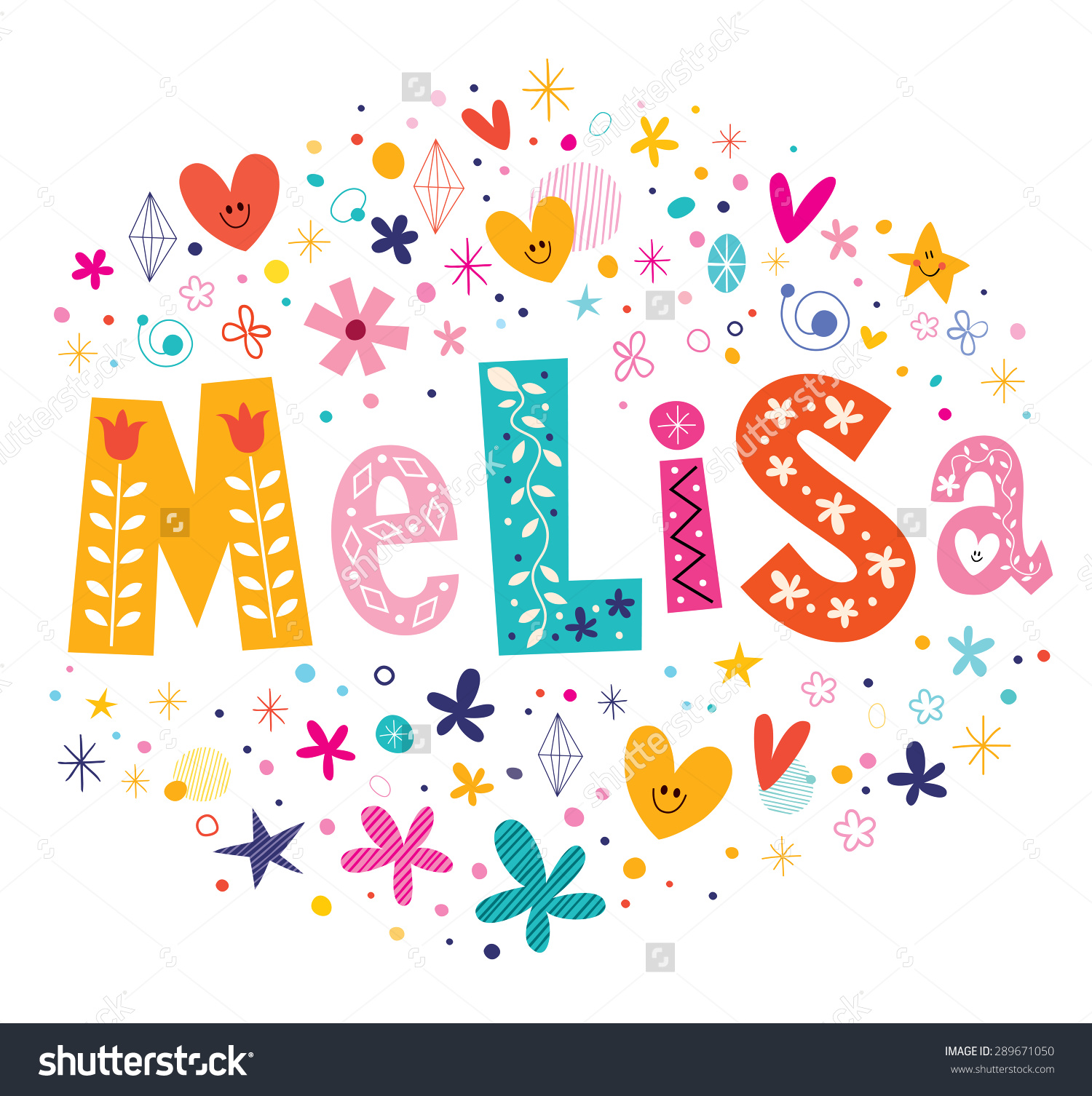 Melisa Girls Name Decorative Lettering Type Stock Vector 289671050.