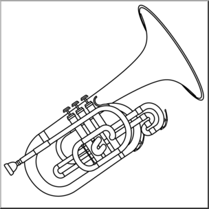 Clip Art: Mellophone B&W I abcteach.com.