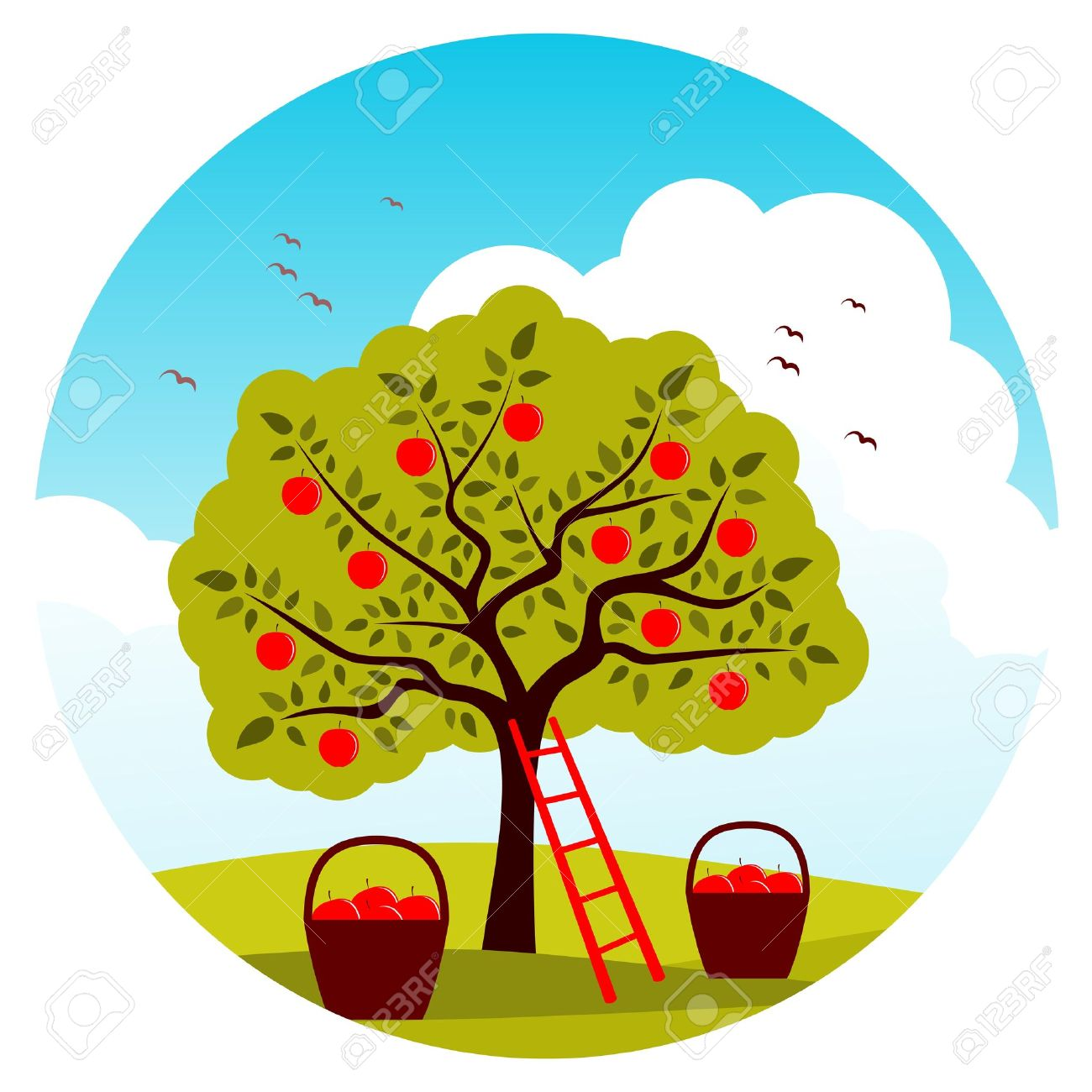 Apple Tree, Ladder And Baskets Of Apples Royalty Free Cliparts.