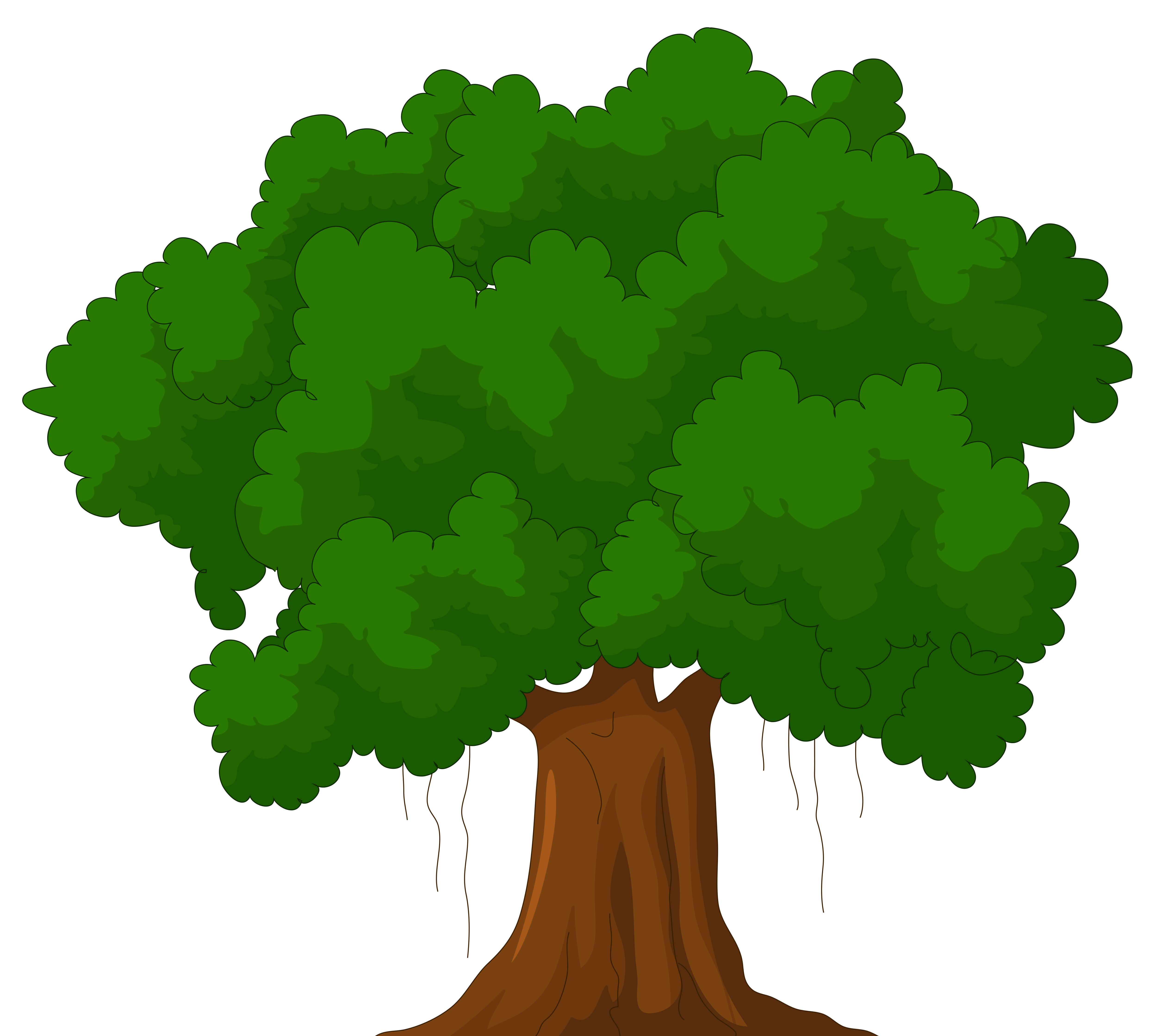 Cartoon Green Tree PNG Clipart.