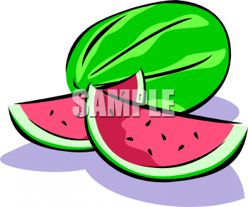 Two Slices of Watermelon Next To a Whole Melon Clipart Image.