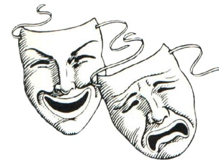 Comedy and tragedy pumpkin clipart.