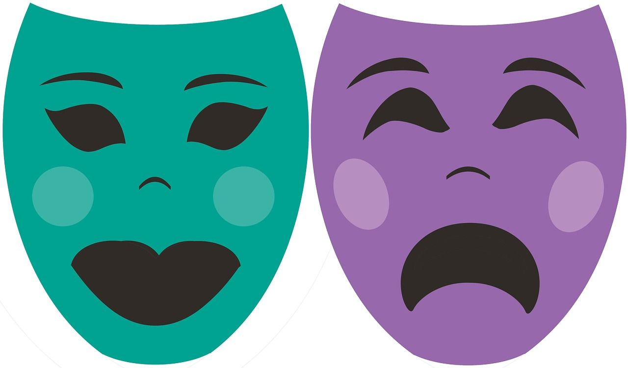 Thalia and Melpomene: Comedy, Tragedy Masks.