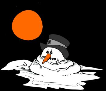 Melting Snowman Clipart.