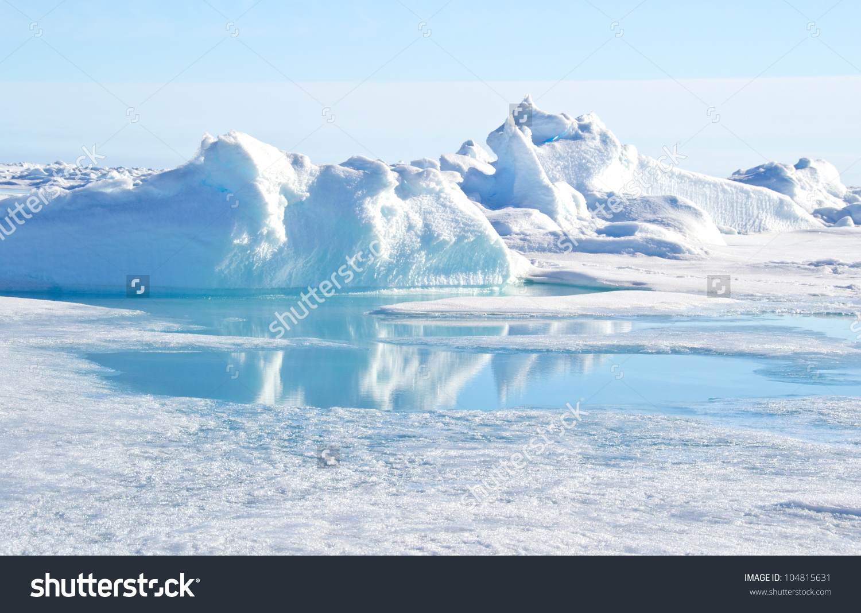 Pressure Ridge Melt Water Geographic North Stock Photo 104815631.