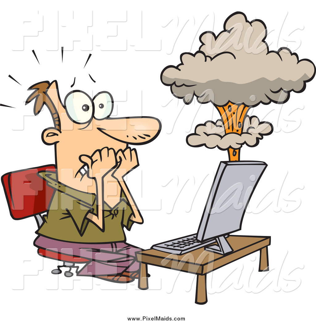 Clipart of a Cartoon White Man's Laptop Having a Meltdown by Ron.