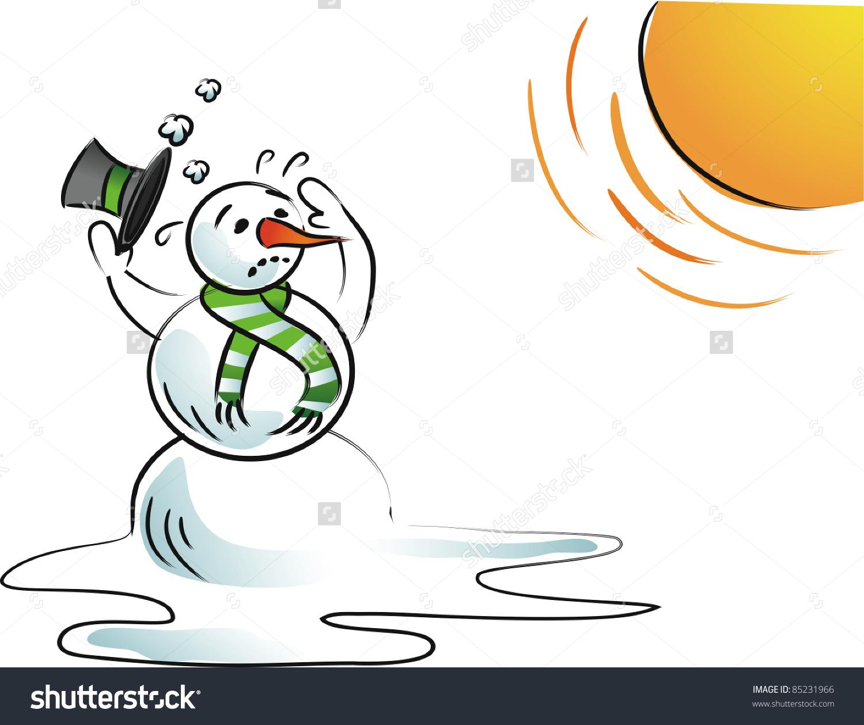 Clipart melting snowman.