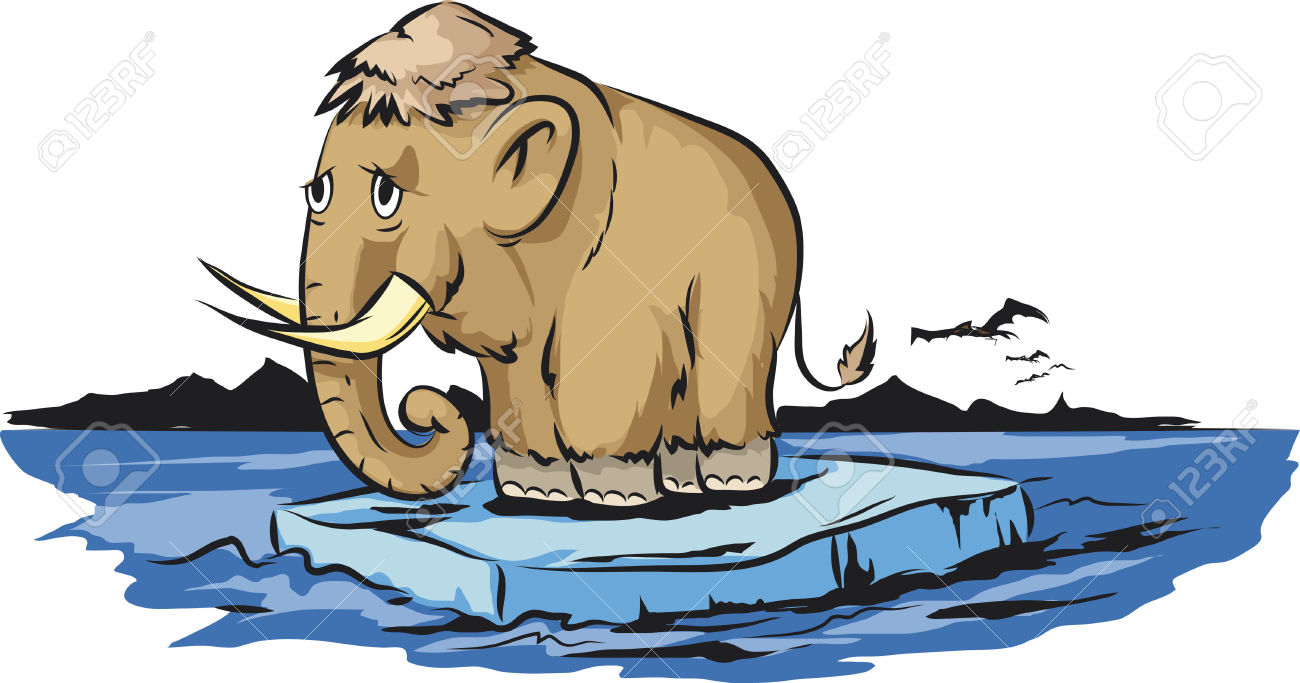 Mammoth On Melting Piece Of Ice Royalty Free Cliparts, Vectors.
