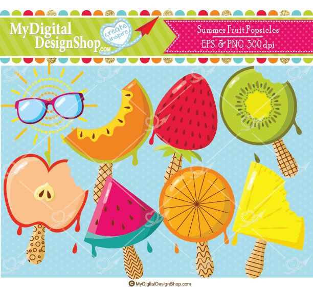 Summer Fruit Popsicle Clipart, EPS, PNG, Strawberry Ice pops.