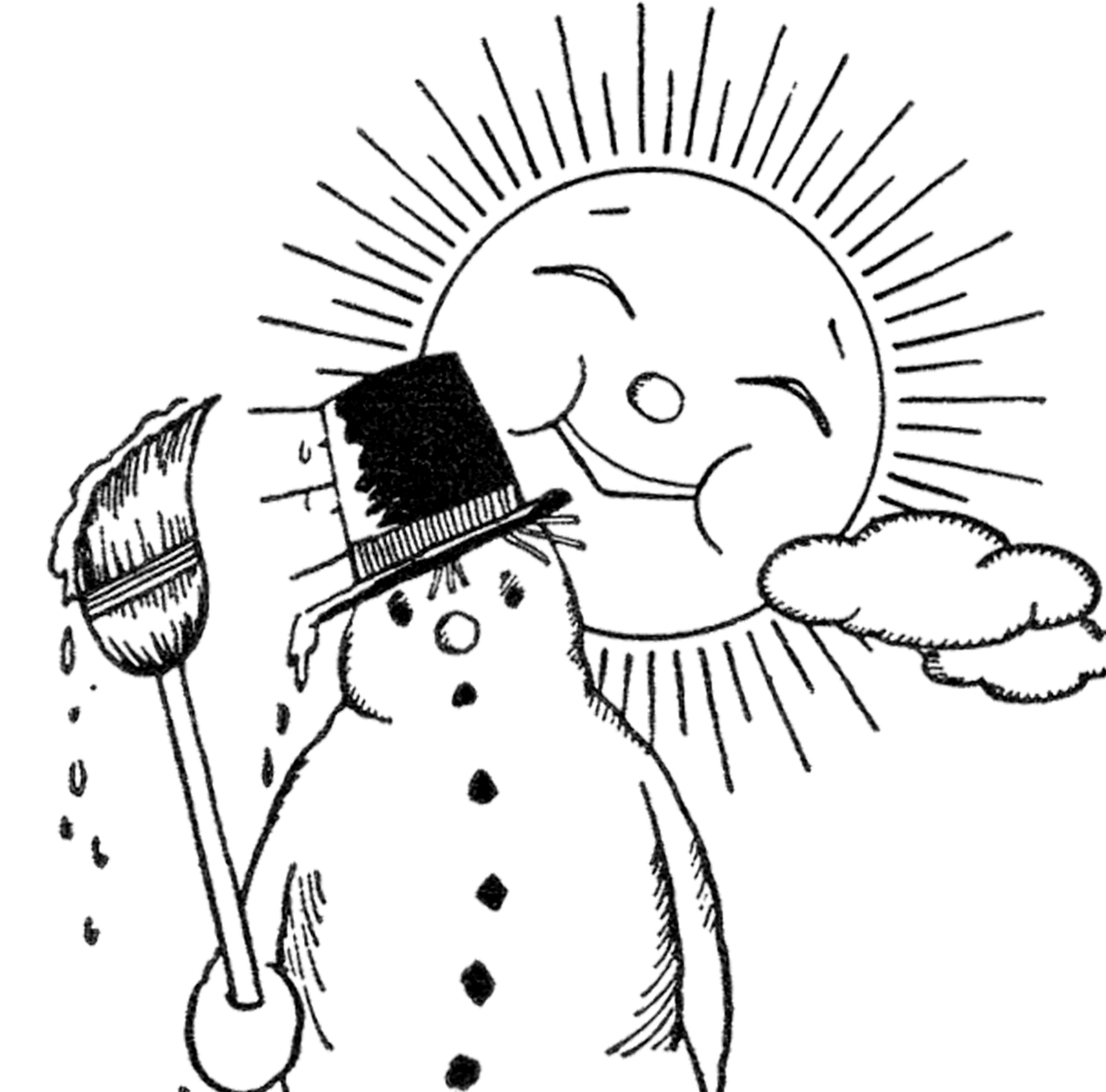 Black And White Clipart Snowman.