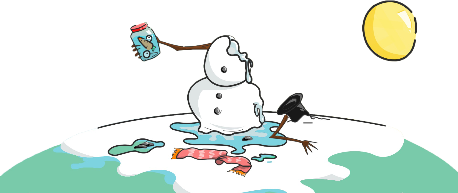 Banner Black And White Snowmen Clipart Calendar.