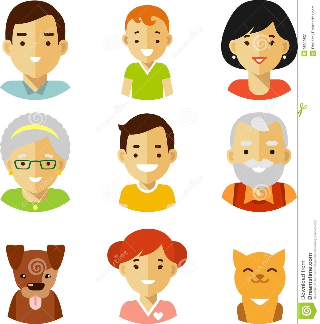 Clip Art of a Family Members.
