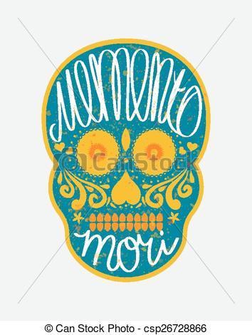 """Clip Art Vector of Mexican sugar skull with """"memento mori"""" (latin."""