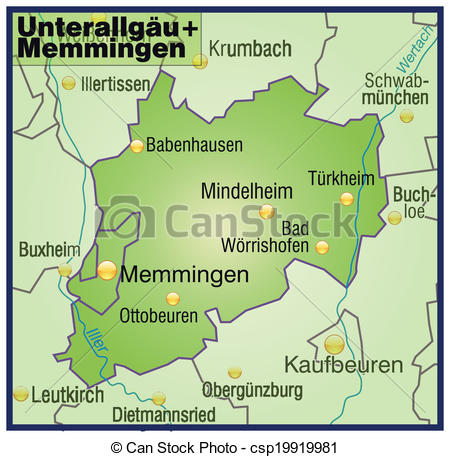 Vector of Map of Unterallgaeu Memmingen as an overview map in.