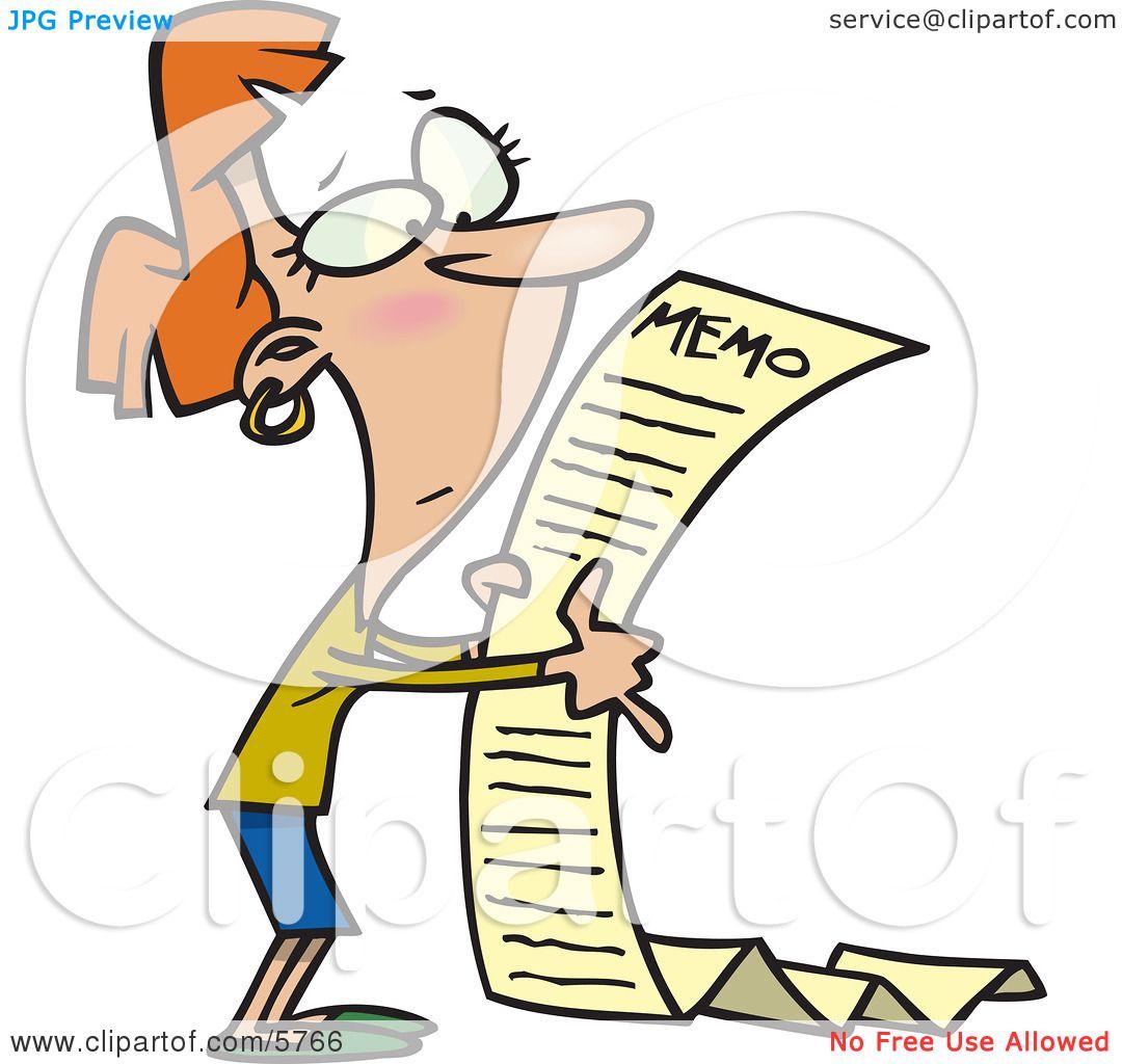 Woman Reading a Very Long Memorandum Clipart Illustration by Ron.