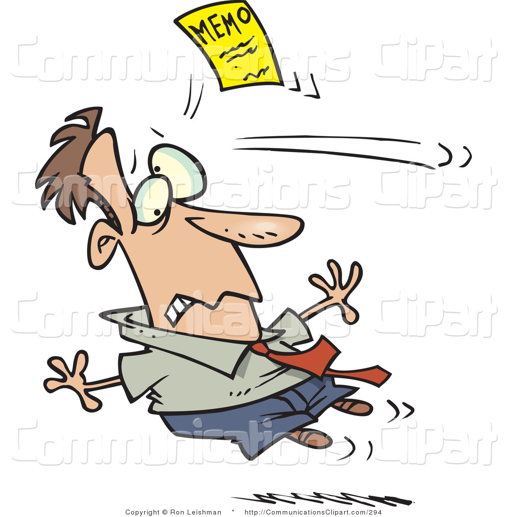 Communication Clipart of a Man Being Hit in the Head by a Yellow.