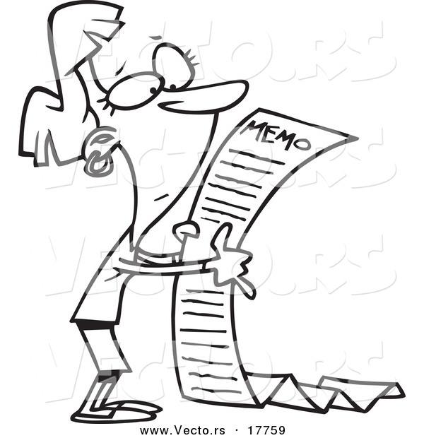 Vector of a Cartoon Businesswoman Reading a Long Memo.