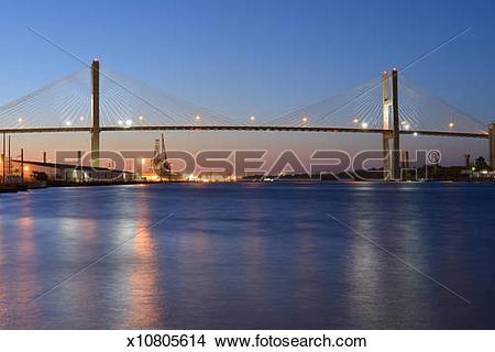 Stock Photo of Talmadge Memorial Bridge in Savannah x10805614.