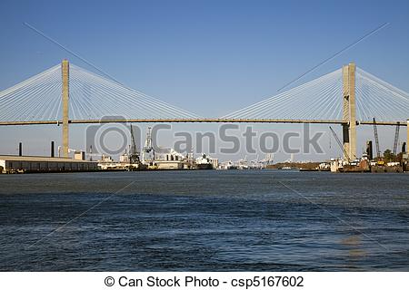 Stock Photo of Talmadge Memorial Bridge in Savannah, Georgia.