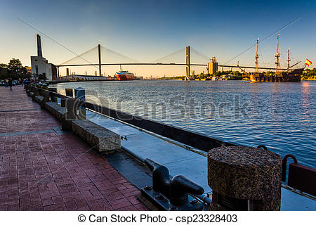 Stock Photography of Talmadge Memorial Bridge over the Savannah.