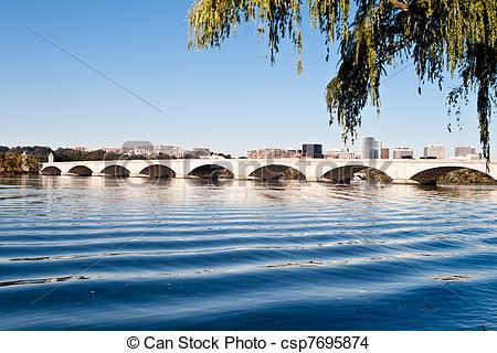 Stock Photo of Memorial Bridge Potomac River Washington DC USA.