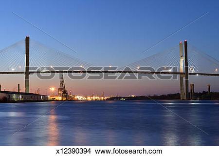 Stock Photo of Talmadge Memorial Bridge in Savannah x12390394.