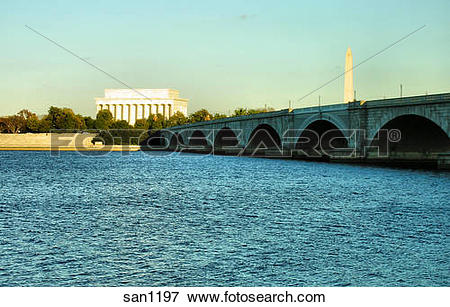 Picture of Memorial Bridge and Lincoln Memorial seen from the.