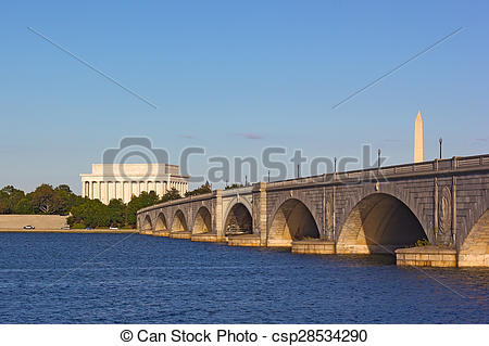 Stock Photographs of Arlington Memorial Bridge.