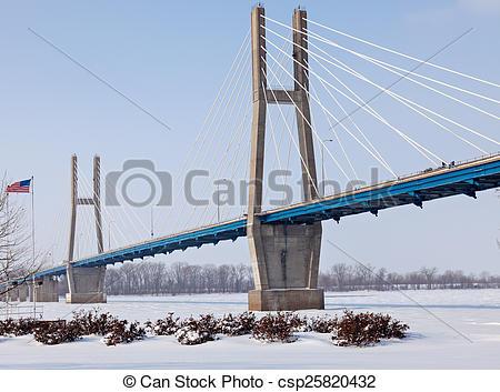 Stock Photos of Quincy Memorial Bridge winter time. Quincy.