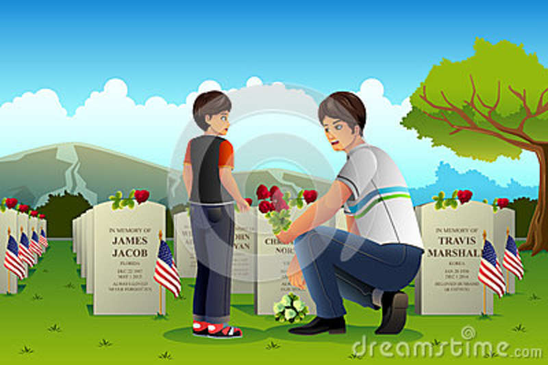 Father Son Visiting Cemetery On Memorial Day Stock Vector.