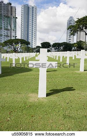 Stock Image of The American Memorial Cemetery with buildings in.