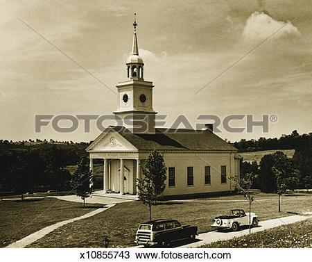 Stock Photo of Memorial chapel in rural environment, (B&W.