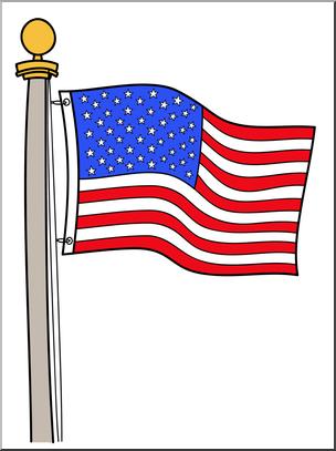 Clip Art: Memorial Day: Flag Color 2 I abcteach.com.
