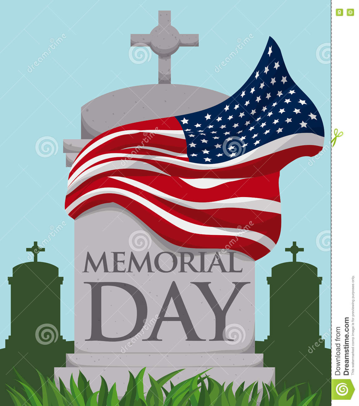 Tombstone With Waving Flag Around It In Memorial Day, Vector.