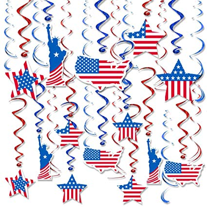 FRIDAY NIGHT Patriotic Decorations Party America Flag Hanging Swirl Ceiling  Accessory Red and Blue Foil for 4th of July,Christmas , New Year ,.