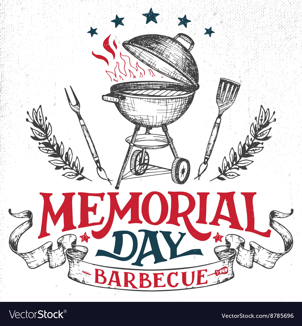Memorial Day greeting card barbecue invitation.