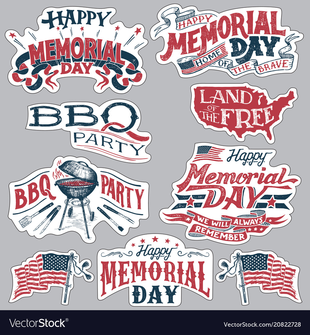 Happy memorial day barbecue party labels set.
