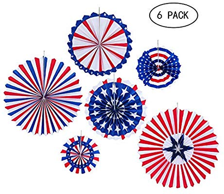 JOYSEAS 6PCS Paper Fans Hanging Decorations Veterans Day.