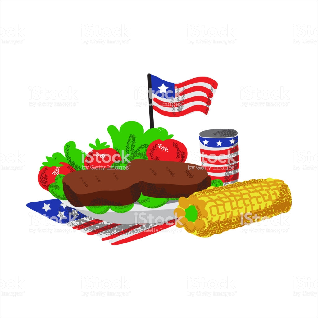 Memorial Day Picnic Food Illustration Barbecue Stock Vector.
