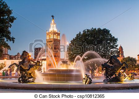 Stock Image of Kansas City Missouri Fountain.